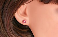 Flower Stud 0.30 Carat Red Ruby and Sapphire Earrings in 14k Yellow Gold Silver