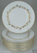 ROYAL WORCESTER SAGUENAY SALAD PLATE SET 12 WHITE,GOLD LEAF FLOWER GARLAND