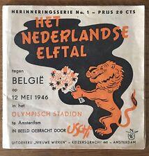 Voetbal Nederland-België 12 Mei 1946. Bijzondere Cartoon van alle spelers Uschi.
