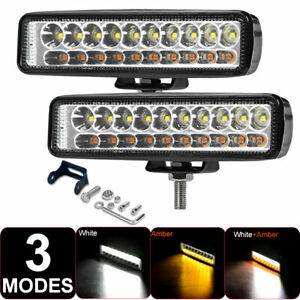 2x 6inch LED Work Light Bar White&Amber Spot OffRoad Driving Fog Lamp Truck 4WD