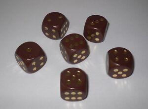 6 Würfel XL aus Ahornholz 20 mm braun Würfelspiel Ludo Thekenspiel