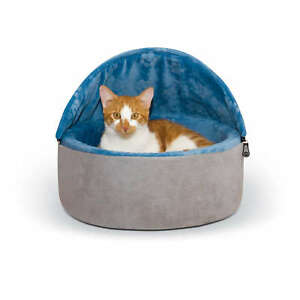 K&H Pet Products Self-Warming Kitty Bed Hooded Sm Blue/Gray