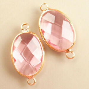 2Pcs Wrapped Faceted Pink Titanium Crystal Oval Pendant Bead H78312