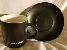Starbucks Black w/ White Embossed Lettering Coffee Mug & Plate 14oz 2010