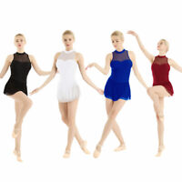 Womens Sleeveless Ballet Gymnastic Leotard Dance Dress Skating Skirts Dancewear
