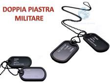COLLANA TARGHETTA MILITARE DOPPIA PIASTRA MEDAGLIETTA MARINE MILITARY NACKLACE