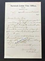 1897 Letterhead ~ NORWICH UNION FIRE OFFICE England