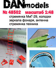 MIG-29 STEP-LADDER, CHOCKS, CANOPY MIRRORS, AERIAL 1/48 DAN MODELS 48502