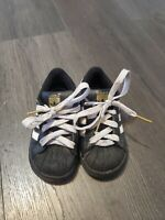 ADIDAS Superstar Toddler Casual Sneakers Black, White, & Gold Size 8K Kids Shoes
