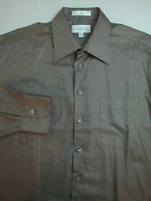 JOHN W NORDSTROM Dress Shirt 16.5 / 35 Brown Luxury Twill Cotton Mens Classic