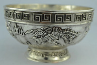 Oriental Detailed Dragon Lucky Chinese Bowl Tibet Silver