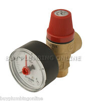 "Altecnic Safety Relief Valve 3 Bar 1/2"" with Gauge M x F 314430"