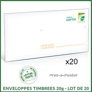 Lot de 20 Pret à poster Enveloppe avec timbre 20g, lot de 20 PAP lettre verte