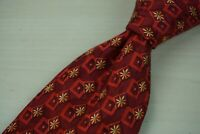 Ermenegildo Zegna Cherry Red Geometric Gold Starburst 100% Silk Tie