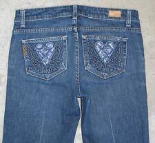 Paige Premium Jeans Womens Robertson Sz 28 Classic Rise Flare Heart Pockets