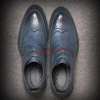 Mens pointy toe wing tip lace up dress formal wedding shoes oxford