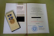 DDR Medaille & Urkunde - Kurt-Barthel-Medaille - Trägerin - 1980