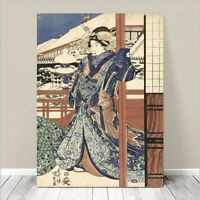 "Beautiful Japanese GEISHA Art ~ CANVAS PRINT 24x18"" Kunisada Lady in Winter"