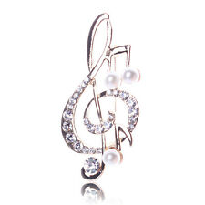 Charm Music Note Rhinestone Pearl Brooch Lovely Brooch Fashion Jewelry hcuk
