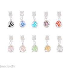 10 HOT! Mixed Crystal Quartz Filigree Cage Dangle Beads. Fits Charm Bracelet