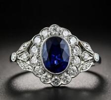 Charm 925 Silver Oval Sapphire Gemstone Wedding Engagement Flower Ring