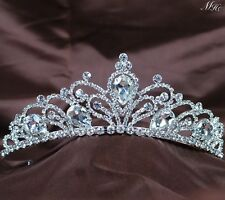 Floral Tiara Diadem Austrian Rhinestone Clear Crystal Crown Wedding Pageant Prom