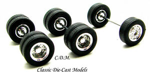 (1) Chrome Wheel Set 1 Front 2 Tandem Rear Tires Axles 1/87 HO Promotex 5449-1