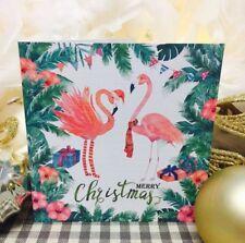 5 x Tarjetas de Navidad flamenco con sobres-ser diferente esta Navidad!
