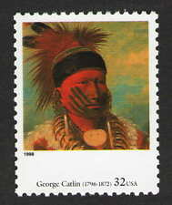 """US. 3236 k. 32c """"The White Cloud, Head Chief of the Lowas"""" by George Catlin.1998"""