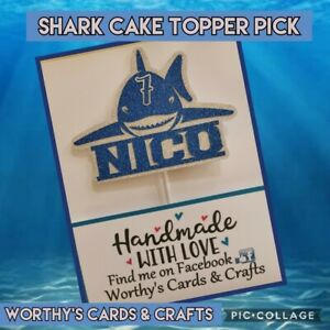 Personalised Shark Birthday Glitter Card Cake Topper/Pick