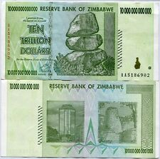 ZIMBABWE 10 TRILLION DOLLAR 2008 P 88 USED/CIRCULATED IN 100 TRILLION SERIES