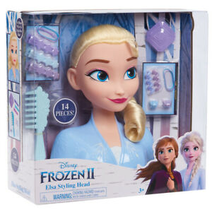 Disney Frozen 2 Elsa Styling Head with 13 Style Accessories Comb Clips Ages 3+