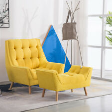 Living Room Sofa Accent Yellow Chenille Fabric Tub Chair Armchair+Matching Stool