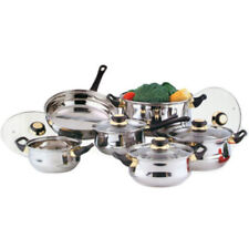 Set Of 12 Stainless Steel Kitchen Cooking Pots Set Glass Lid Saucepan Frying Pan