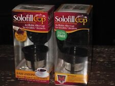 LOT OF TWO (2) SOLOFILL CUPS REFILLABLE FILTER CUPS FOR KEURIG BREWERS -- NEW!!!