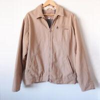 COLORADO Size Large Mens Beige Camel Brown Canvas Cotton Zip Up Bomber Jacket