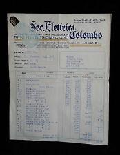 D3> VECCHIA FATTURA SOC. ELETTRICA COLOMBO 1937 CON MARCHE DA BOLLO SUL RETRO