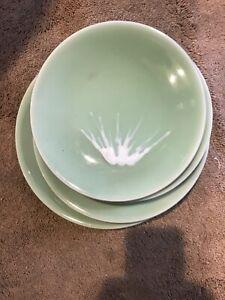 Rare Vintage Japanese 19th C Nabeshima Celadon Mt Fuji Dishes-set of 6