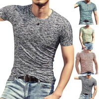 Summer Fashion Mens Casual T-Shirts Slim Fit Fitness Workout Tee  Tops