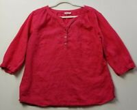 See Saw Women's 3/4 Sleeve Blouse Top 14 Pink 100% Linen Popover Casual