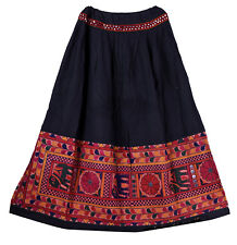 Kutch Embroidered Vintage Banjara Women Skater Long Skirt Indian Retro Skirts