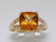 Citrin Ring 585 Gelbgold 14Kt Gold natürlicher Citrin    8 Brillanten