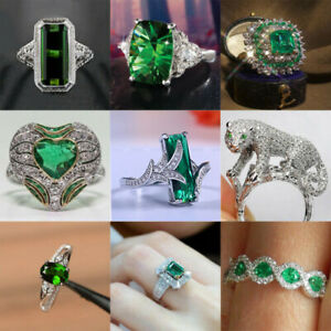 Gorgeous 925 Silver Jewelry Wedding Emerald Anniversary Women Rings Size 6-10