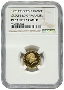 Indonesia, 2000 Rupiah, 1970, Gold, Great Bird of Paradise, NGC PF67 ULTRA CAMEO