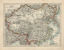 1909 MAP ~ CHINA ~ TIBET CHINESE EMPIRE MANCHURIA etc