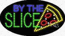 """NEW """"BY THE SLICE"""" PIZZA 27x15 OVAL SOLID/ANIMATED LED SIGN w/CUSTOM OPTION24296"""