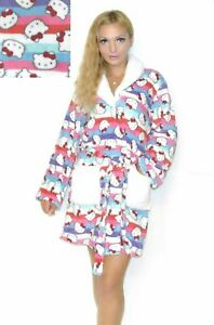 NWT Sanrio Hello Kitty Super Plush Robe with sherpa collar&pockets S,M,L,XL