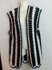 Vintage 1970s Hand Made Crochet Long Vest Top Open Black White Hippy Boho M/L