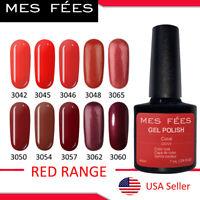 Red Range Nail Gel Polish Base Top Coat Colors Soak Off UV LED Nail Art 7ml