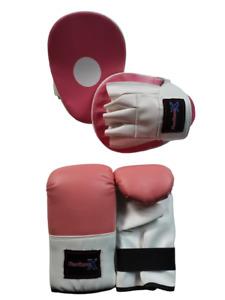 Pink Ladies Focus pads and Bag Mitts size L/XL set Hook & Jab Punching kick